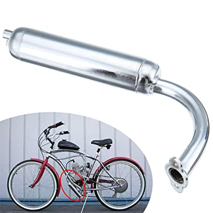 Ambienceo 49cc 50cc 66cc 80cc 2 Stroke Petrol Gas Engine Motor Motorized  Bicycles Bike Muffler Exhaust Pipe (Silver)