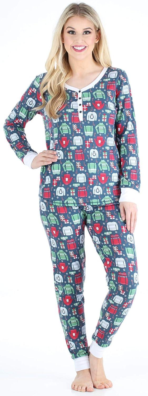 Sleepyheads Ladies Knit Lightweight Long Sleeve Henley and Pant Loungewear Pyjama Set