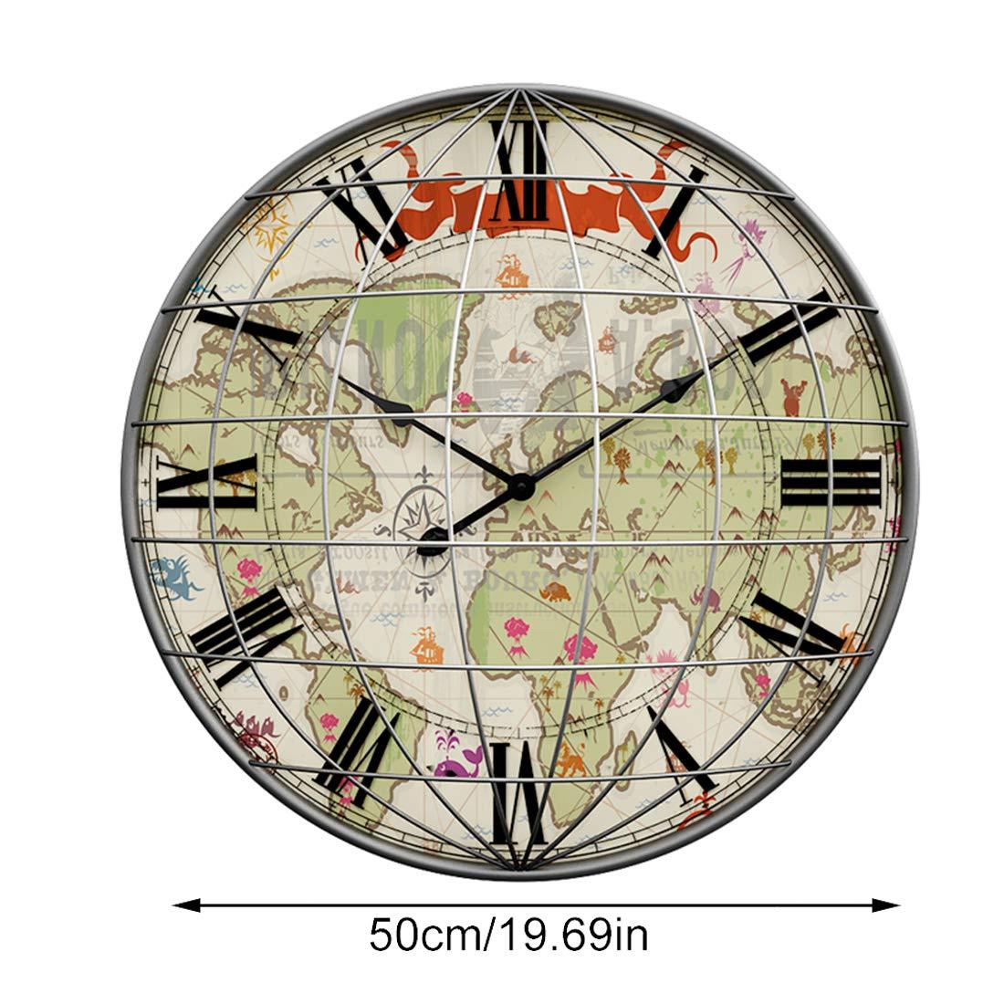 MRKE 50CM 3D Reloj Pared Grande XXXL Vintage Silencioso Metal Retro Mapa Tridimensional Design Reloje de Pared para Cocina/salón/Dormitorio/Baño/Oficina: ...