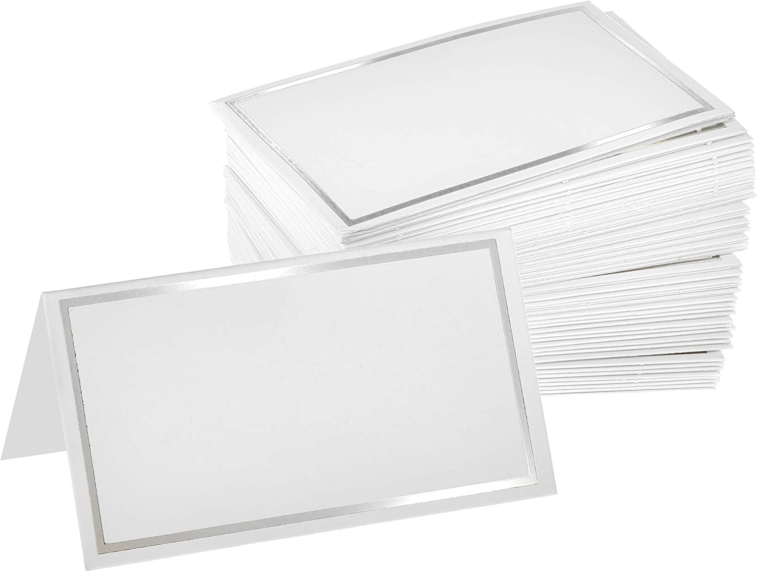 """Alpine Industries Tent Place Cards 2"""" x 3.5"""", Place Cards for Weddings, Events, Special Occasions High-Grade Elegant Design - (White - Silver Border)"""