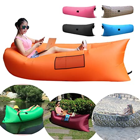 CoCoMall Inflatable Lounger, Inflatable lazy bag, Portable Waterproof Compression Sack, Nylon Beach bag, Hangout Camping Sofa (Orange)