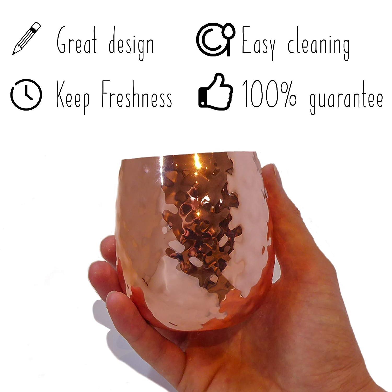 Cerveza Set de 4 vasos de c/óctel de cobre con pajitas y cepillo de limpieza Frescor inigualable Mojito Ron Caipiri/ña Appetit Gourmet Moscow Mule Vasos de dise/ño de 36 cl para bebidas
