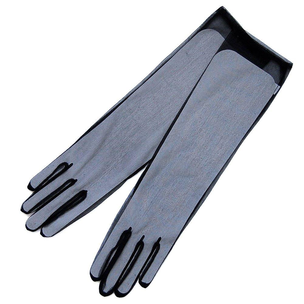 ZaZa Bridal Gorgeous Sheer Gloves Tricot Slip-on Below-The-Elbow Length 8BL-Black