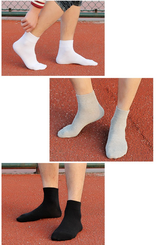 Men\'s Cotton Athletic Quarter Sock Casual Ankle Compression Socks, Size 6-11