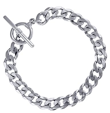 Accento Heavy Curb Id Sterling Silver Bracelet iBhwY9jgTP