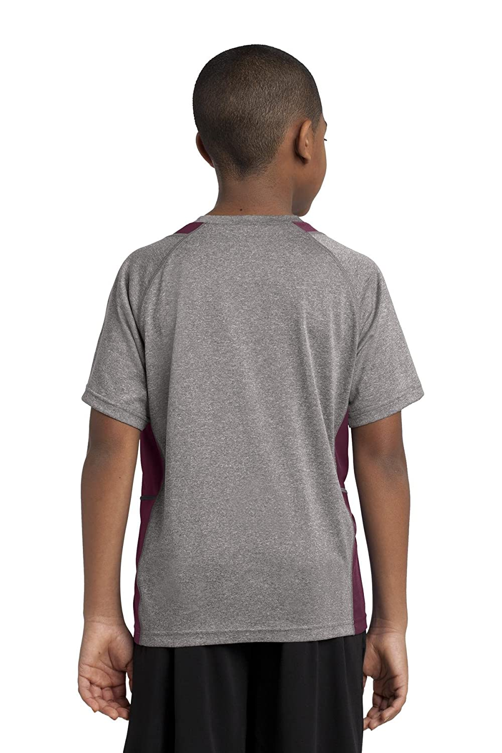 Vintage Heather// Maroon YST361 M Sport-Tek Boys Heather Colorblock Contender Tee