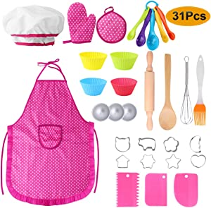 Hicdaw Kids Cooking Set, 31PCS Kids Chef Hat Playing Cooking Baking Apron Set for Kids Children Aprons for Cooking with Chef Hat Oven Mitt Cooking Utensils