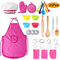 Hicdaw 31PCS Complete Kids Cooking and Baking Set, Child Chef Role Play Costume Set with Apron, Chef Hat, Oven Mitt and…