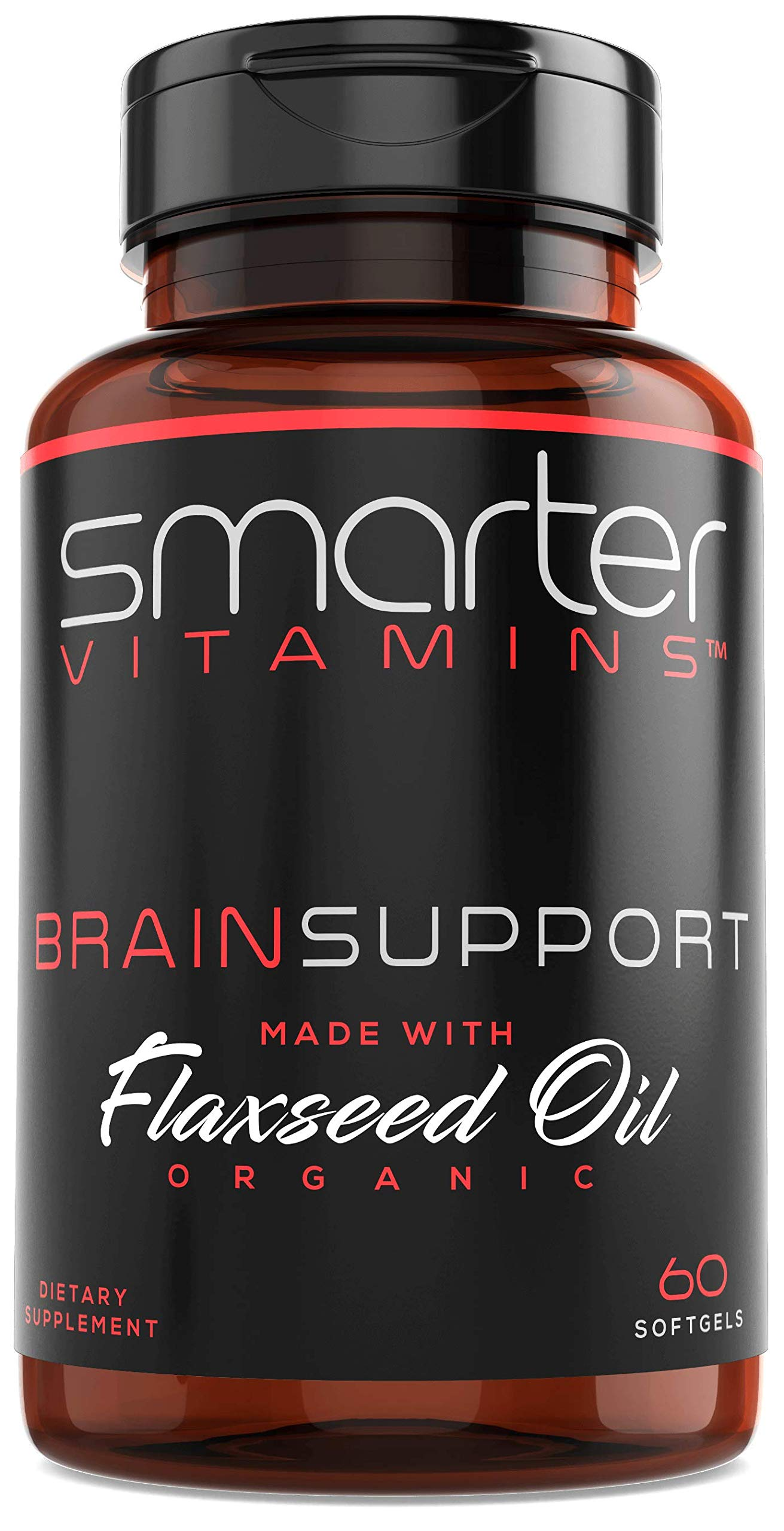 Brain Support Nootropic Supplement, Memory, Alertness, Brain Health, Brain Function, Made with Alpha-GPC, L-Tyrosine & Acetyl L-Carnitine ALCAR, Organic Flaxseed Oil for ALA + DHA Brain Omegas