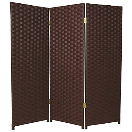 Oriental Furniture Woven Fiber Low Dark Mocha Room Divider   48W X 48H In.