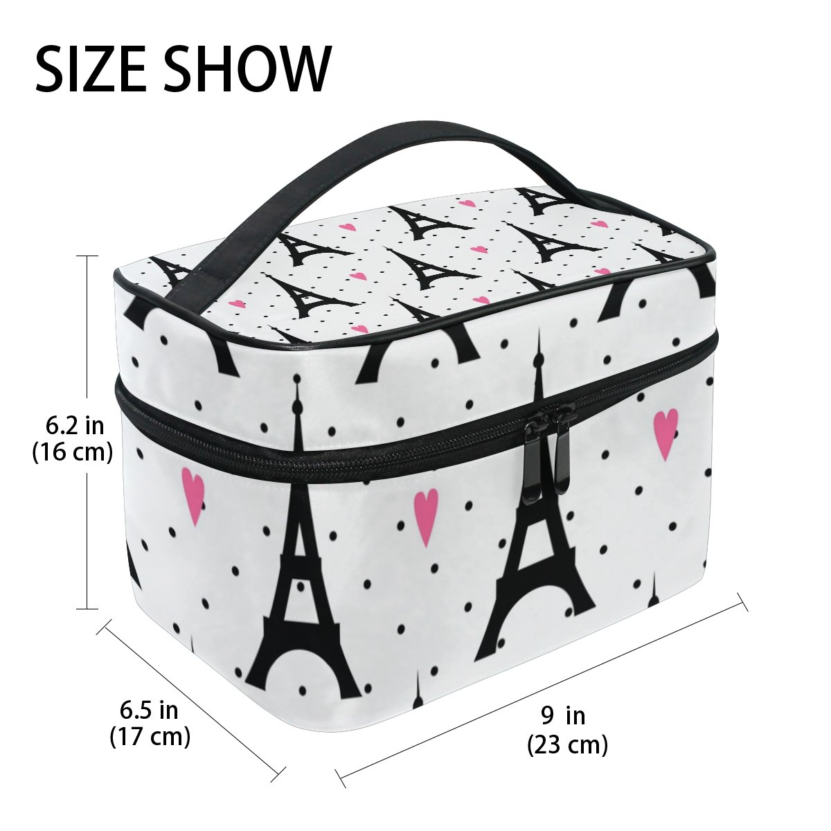 GIOVANIOR Paris Eiffel Tower Love Print Large Cosmetic Bag Travel Makeup Organizer Case Holder for Women Girls by GIOVANIOR (Image #2)