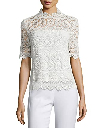 60f7f18be02b0a Elie Tahari Womens Short Sleeve Lace Blouse White S at Amazon Women's  Clothing store: