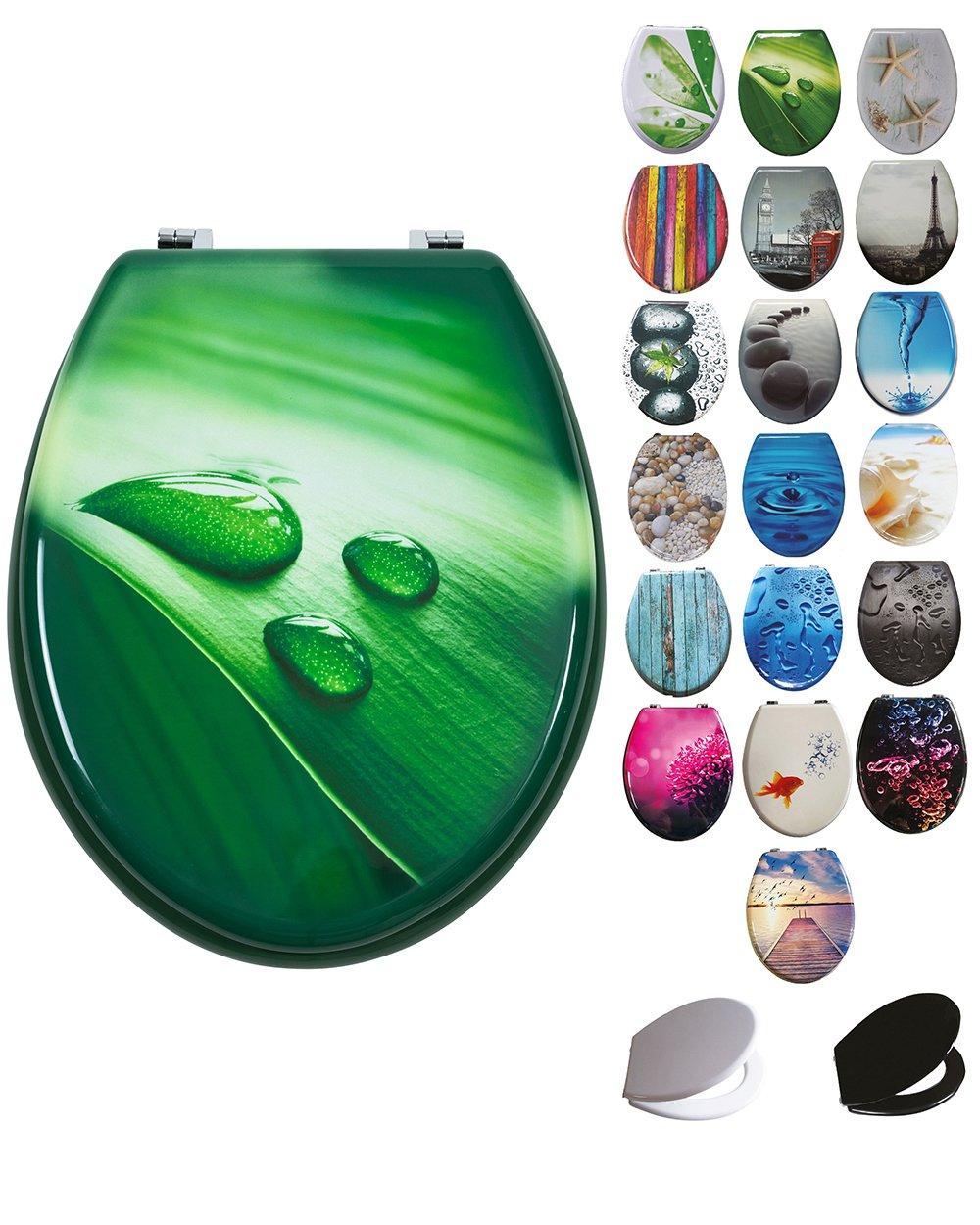 Grafner® MDF WC Sitz mit Absenkautomatik viele schöne Motive zur Auswahl - stabile Qualität - einfache Monatge WC Deckel Klobrille Softcolse (Pink Dahlia)
