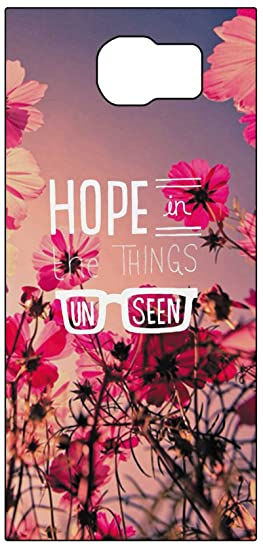Hope In The Things Unseen Quotes With Red Flowers Background Design