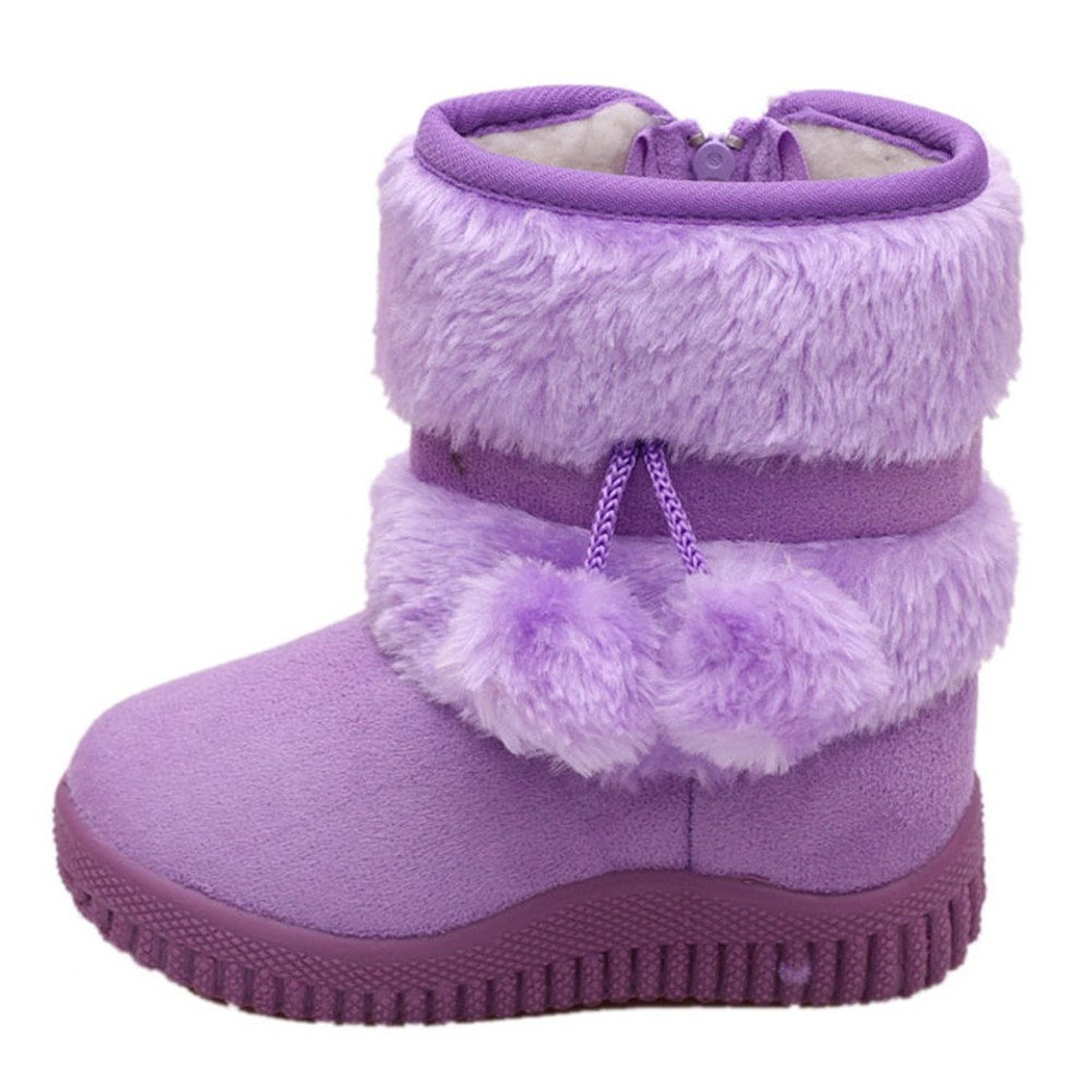 Toddler Baby Boy's Girl's Snow Boot Flat Pom Pom Winter Warm Shoes Ankle Booties (1-7 Years Kids)