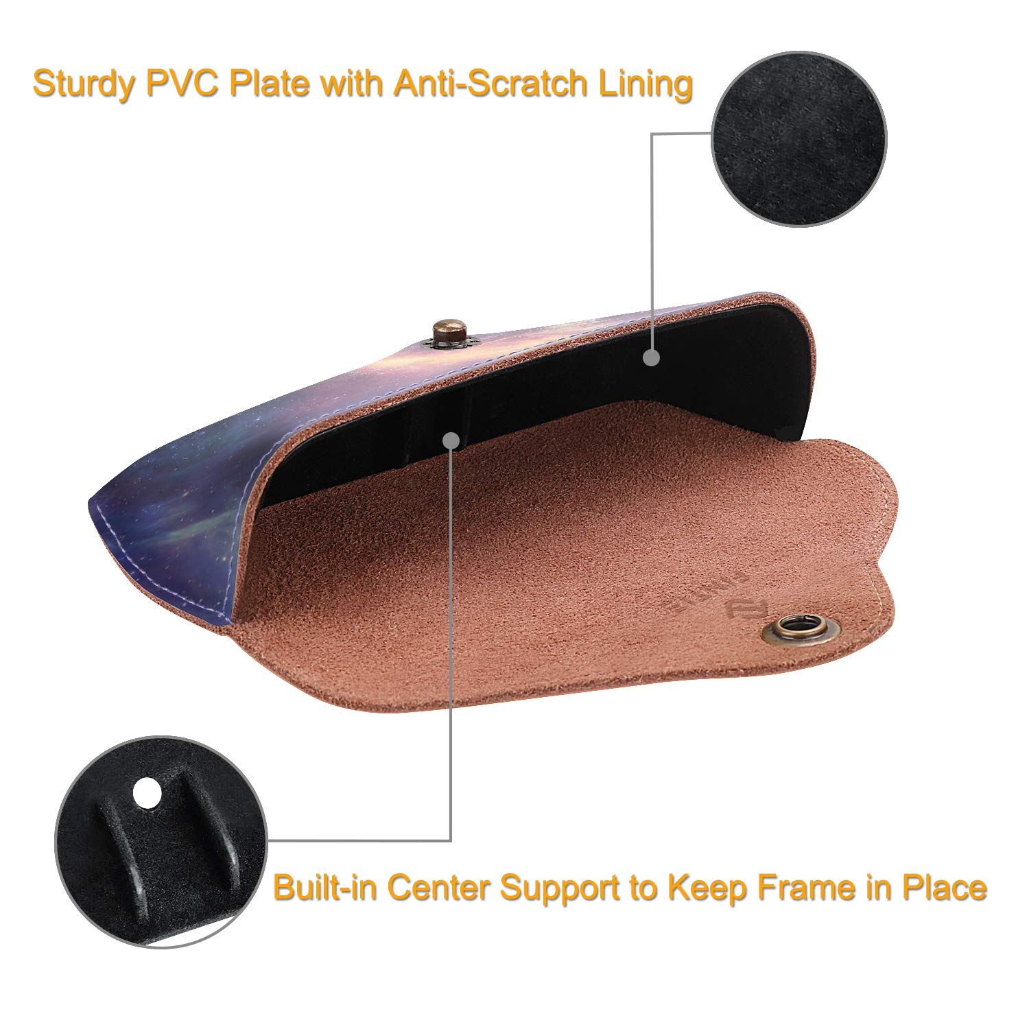 Fintie Portable Sunglasses Case, Semi-Hard Vegan Leather Glasses Carrying Case Eyewear Pouch with Snap Button Closure by Fintie (Image #5)