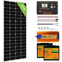 ECO-WORTHY 12V Solar Starter Kit: 195W Mono Solar Panel+30A PWM Charge Controller+Z Brackets+16ft Solar Cable+1000W Off…