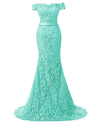 APXPF Womens Long Mermaid Lace Formal Prom Dress Wedding Dress Evening Party Gown - Blue -