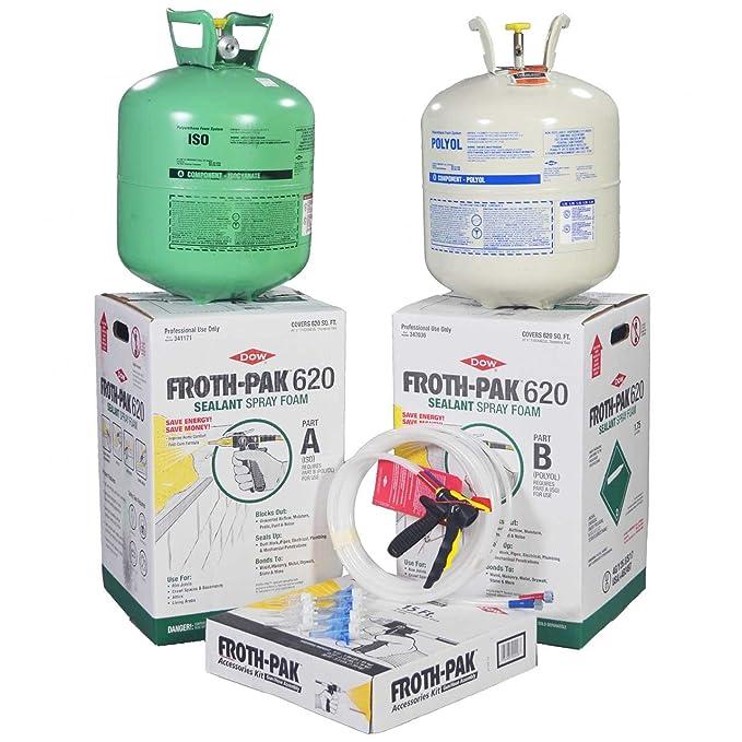 Dow Froth-Pak 620 Spray sellador de espuma aislante Kit con manguera de 30, espuma de célula cerrada, cubre 620 SQ FT: Amazon.es: Bricolaje y herramientas