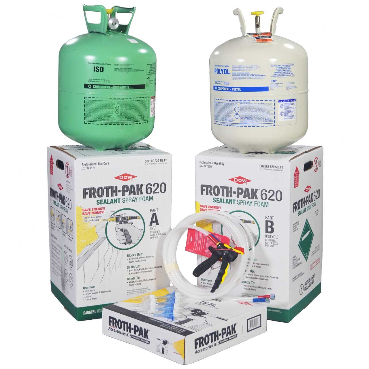 DOW FROTH-PAK 620 Spray Foam Sealant Insulation Kit With 30' Hose, Closed Cell Foam, Covers 620 sq ft
