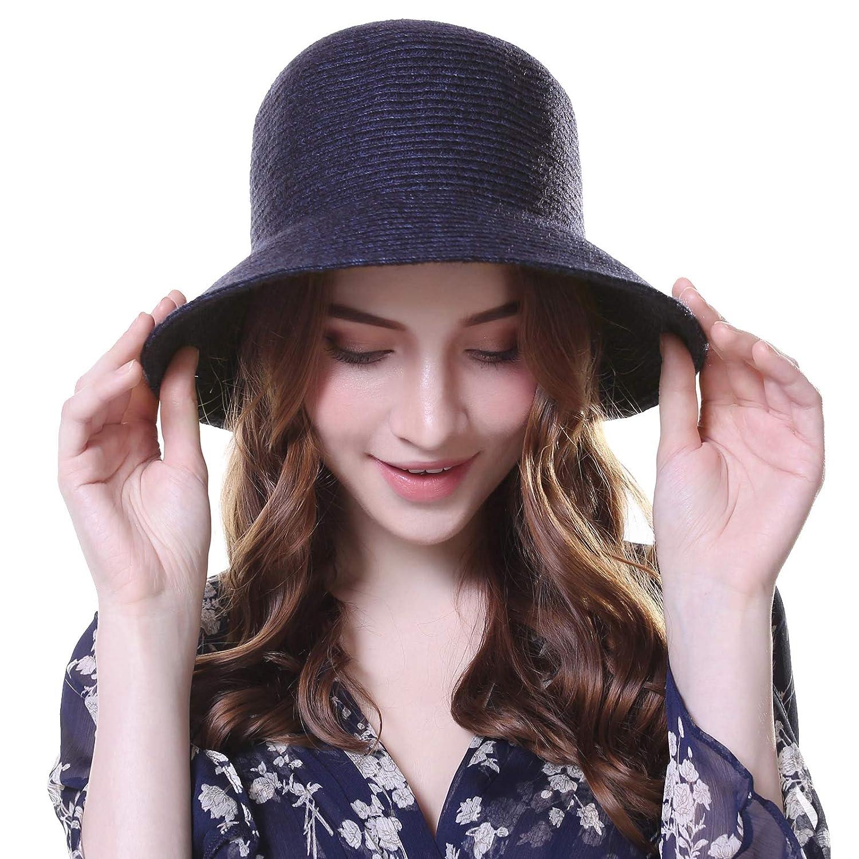 Navy Bule Kajeer 1920s Vintage Wool Felt Bucket Cloche Bowler Hat for Women