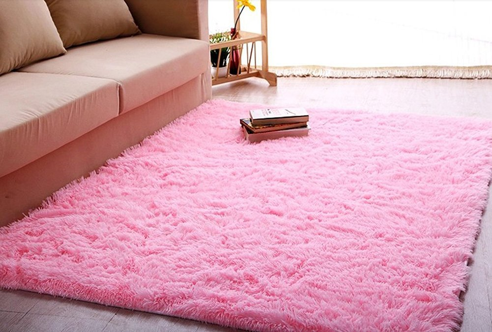 ACTCUT Super Soft Indoor Modern Shag Area Silky Smooth Rugs Fluffy Rugs Anti-Skid Shaggy Area Rug Dining Room Home Bedroom Carpet Floor Mat 2.6- Feet By 5.3- Feet (Hot Pink)