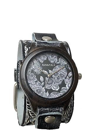 Amazoncom Nemesis Dark Wood Sugar Skull Watch With Tattoo Print