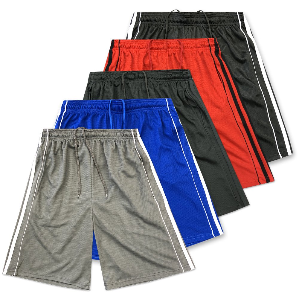 American Legend Mens Active Athletic Performance Shorts - Set 5-5 Pack, M