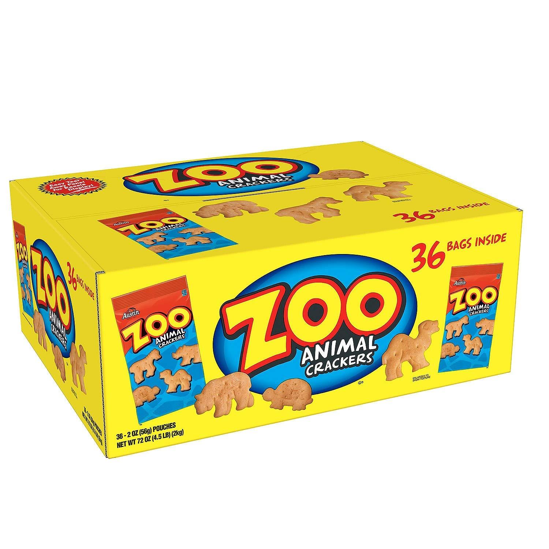 Zoo Animal Crackers, Original, 2 oz Pack, 36 Packs/Box Reg