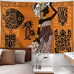 """PROCIDA Home Tapestry Wall Hanging Nature Art Polyester Fabric African Woman Theme, Wall Decor For Dorm Room, Bedroom, Living Room, Nail Included - 90""""W x 71""""L (230cmx180cm) - Black Woman And Animals"""