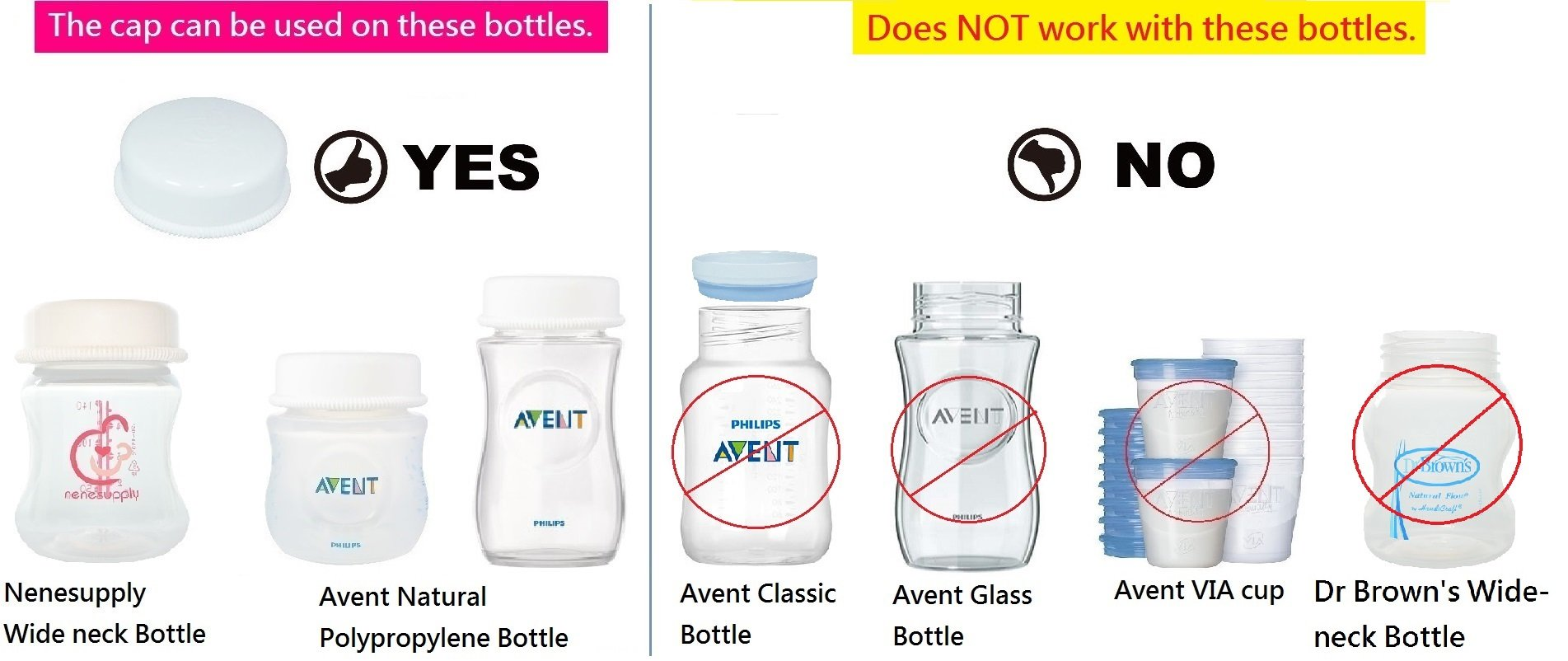 Sealing Caps Lids for Wide Neck Collection Bottle Avent Natural Polypropylene Bottles and Nenesupply Mouth Neck Bottles Storage Bottle Cap Replace Avent Natural Bottle Sealing Ring and Sealing Disc by NENESUPPLY (Image #2)