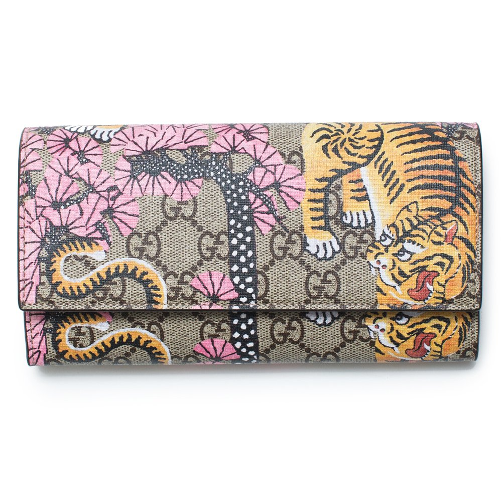 692e9b3477c Amazon.com  Gucci Bengal Pink Mixed Tiger Fabric leather Flap Snap Bag  Wallet New  Shoes
