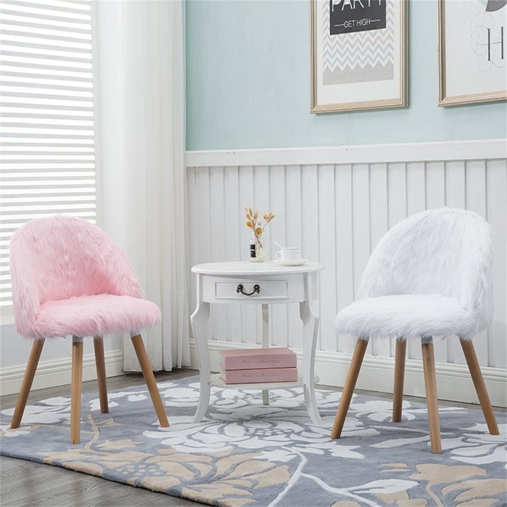 Dining Chairs Makeup Chair, Fluffy Mat Bedroom Office Lounge Chair With Backrest, Breakfast Chair, Girl Fresh Sweet Style (Color : White) Pink