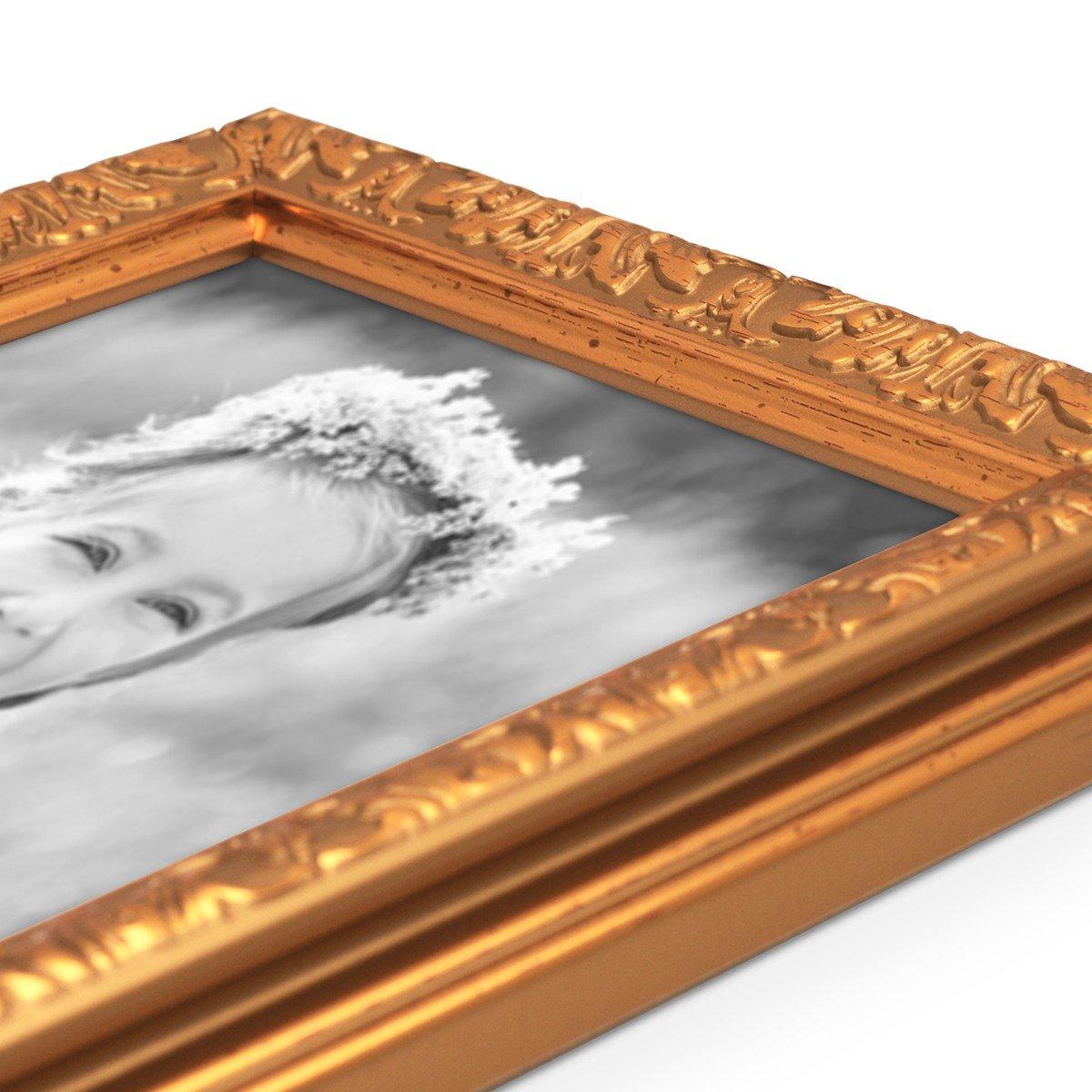 Photolini Bilderrahmen Antik Gold Nostalgie 21x30 cm DIN A4 ...