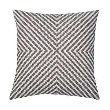 SLOW COW Cotton Embroidery Cushion Cover Grey Dots Embroidered Throw Pillow Cover 18x18 Inches