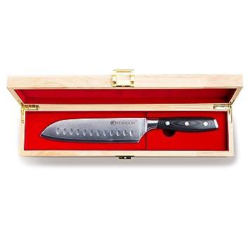 STALLION Cuchillo de Damasco Cuchillo Santoku de Acero damasceno en una Elegante Caja de Regalo - el Regalo Ideal para Hombres y Amantes de un Buen ...