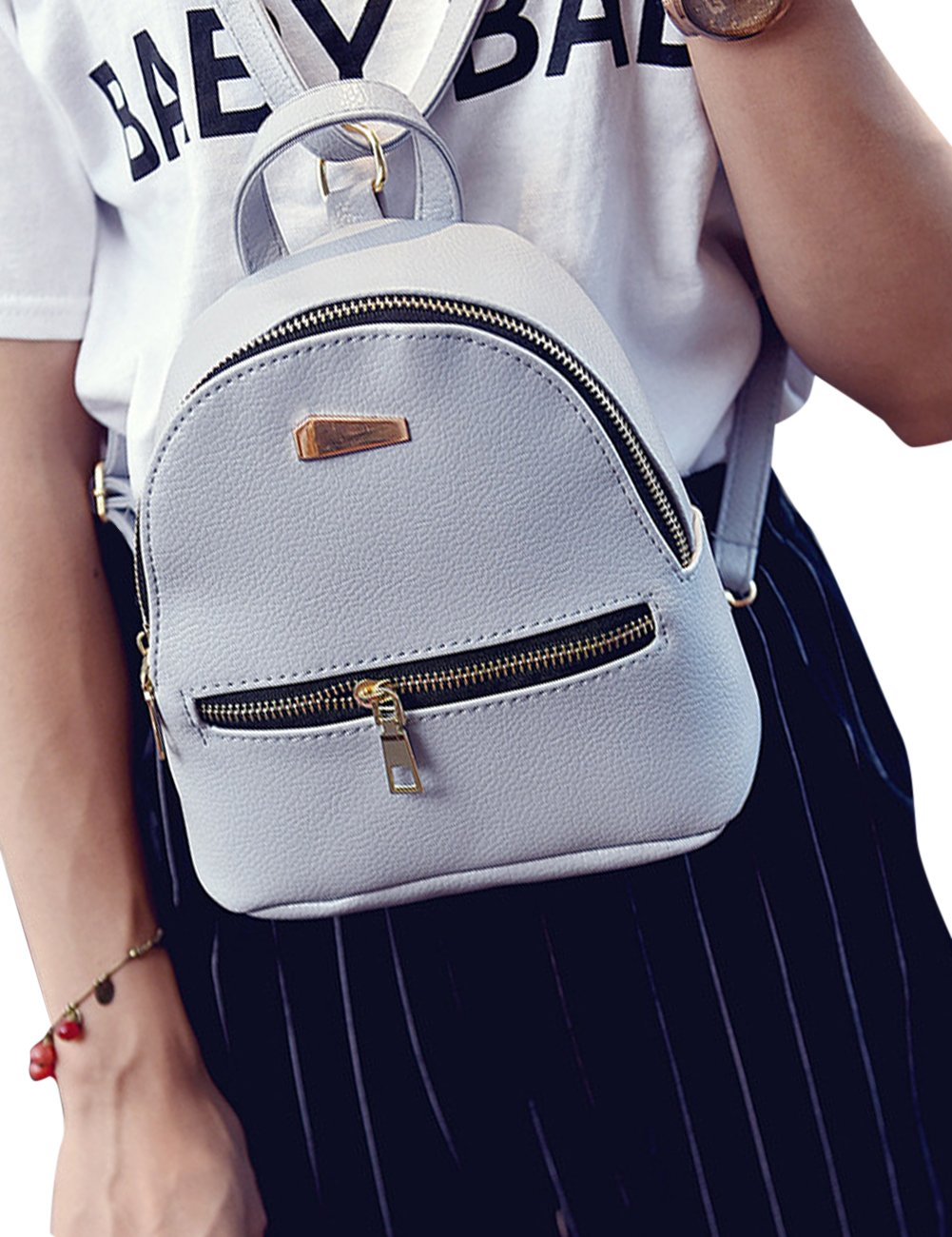 ShiningLove Cute Concise PU Leather Travel Backpack For Teenagers Girls Candy Color Shoulder Bag Casual Daypack Black by ShiningLove (Image #5)