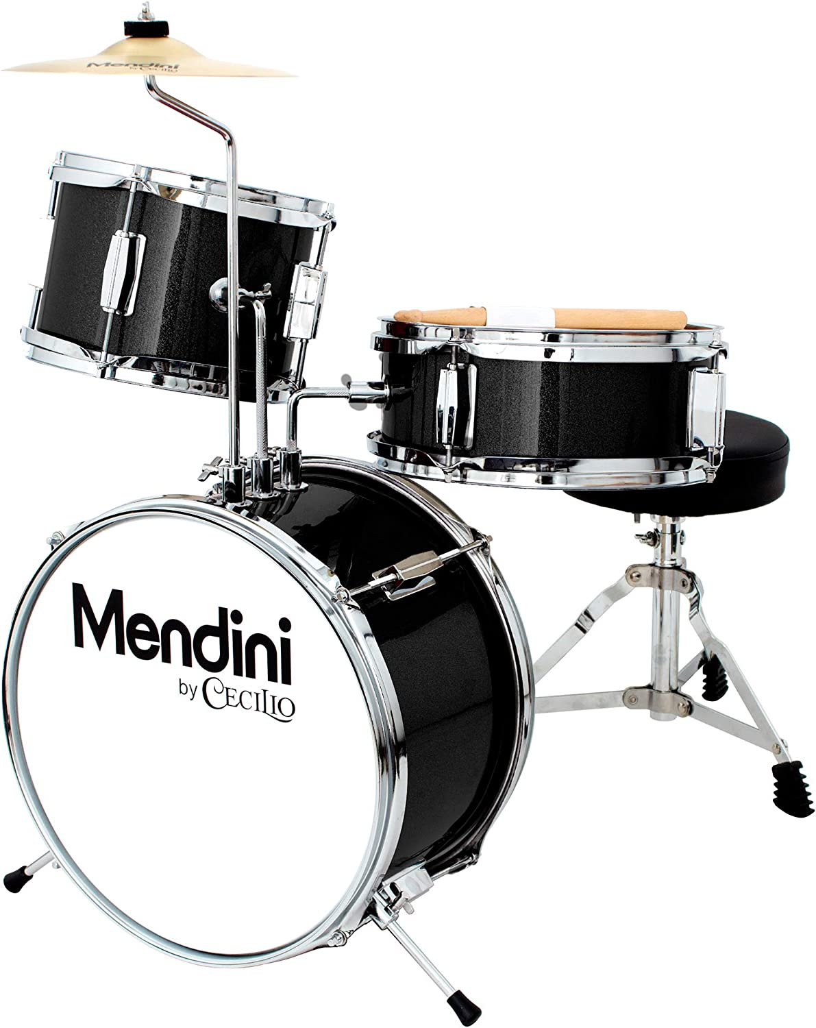 Mendini by Cecilio 13 inch 3-Piece Kids/Junior Drum Set with Throne, Cymbal, Pedal & Drumsticks