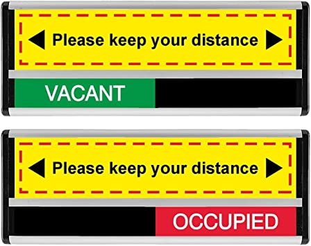 Please Keep Your Distance Vacant Occupied Sliding Sign 214 X 60mm Amazon Co Uk Diy Tools