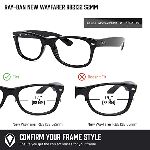 Revant Lentes de Repuesto Ray-Ban New Wayfarer RB2132 52mm ...