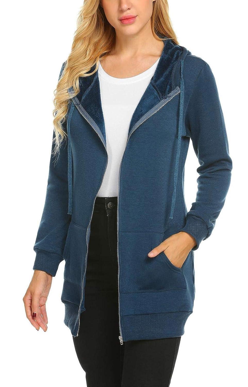 edited Women Casual Fashion Long Sleeve Fleece Hooded Zipper Hoodies Tunic Sweatshirt