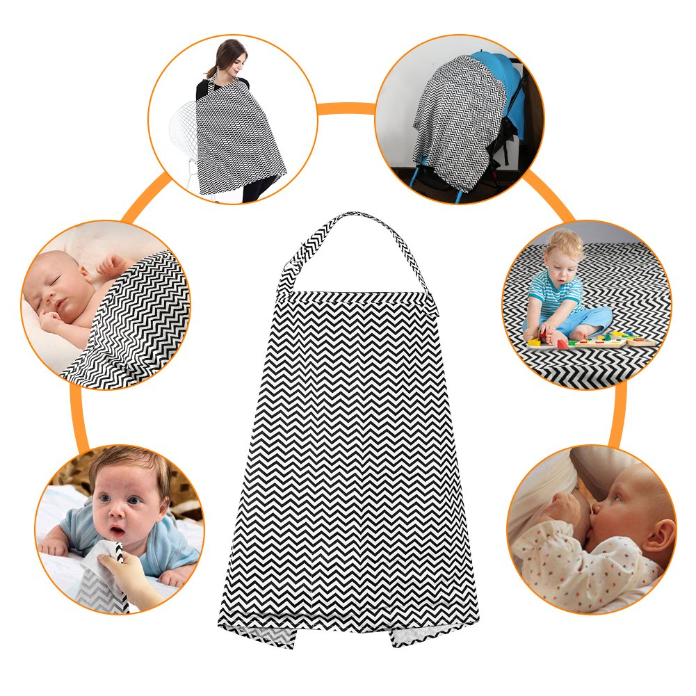 Accmor Nursing Cover Breastfeeding Cover, Multi-use Breathable Cotton Flax Breastfeeding Cover Ups Nursing Apron, Full Coverage, Rigid Neckline, Covers Up Newborns in Public by accmor (Image #5)