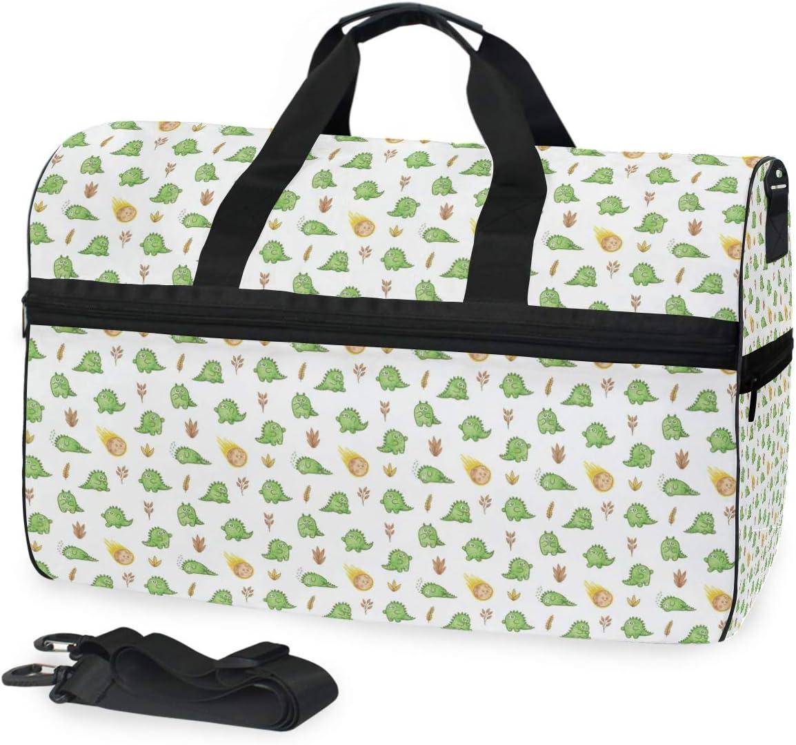 MALPLENA Cartoon Dinosaur Sleep Packable Duffle Bag For Men Women Tear Resistant Sports Duffle