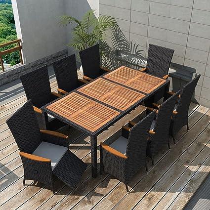 Luckyfu Juego Mesa sillas de jardín 17pz Polirratán Negro Ed Acacia ...