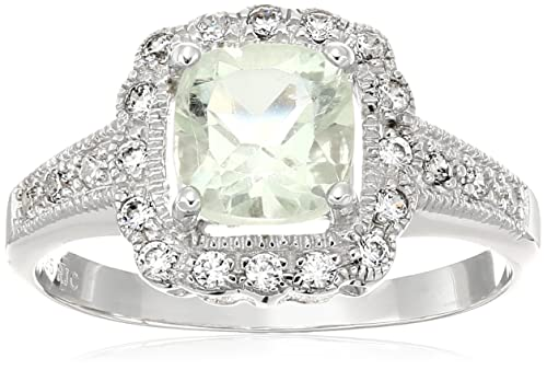 1 cttw 7 MM Cushion Cut Green Amethyst Ring in .925 Sterling Silver Size 6