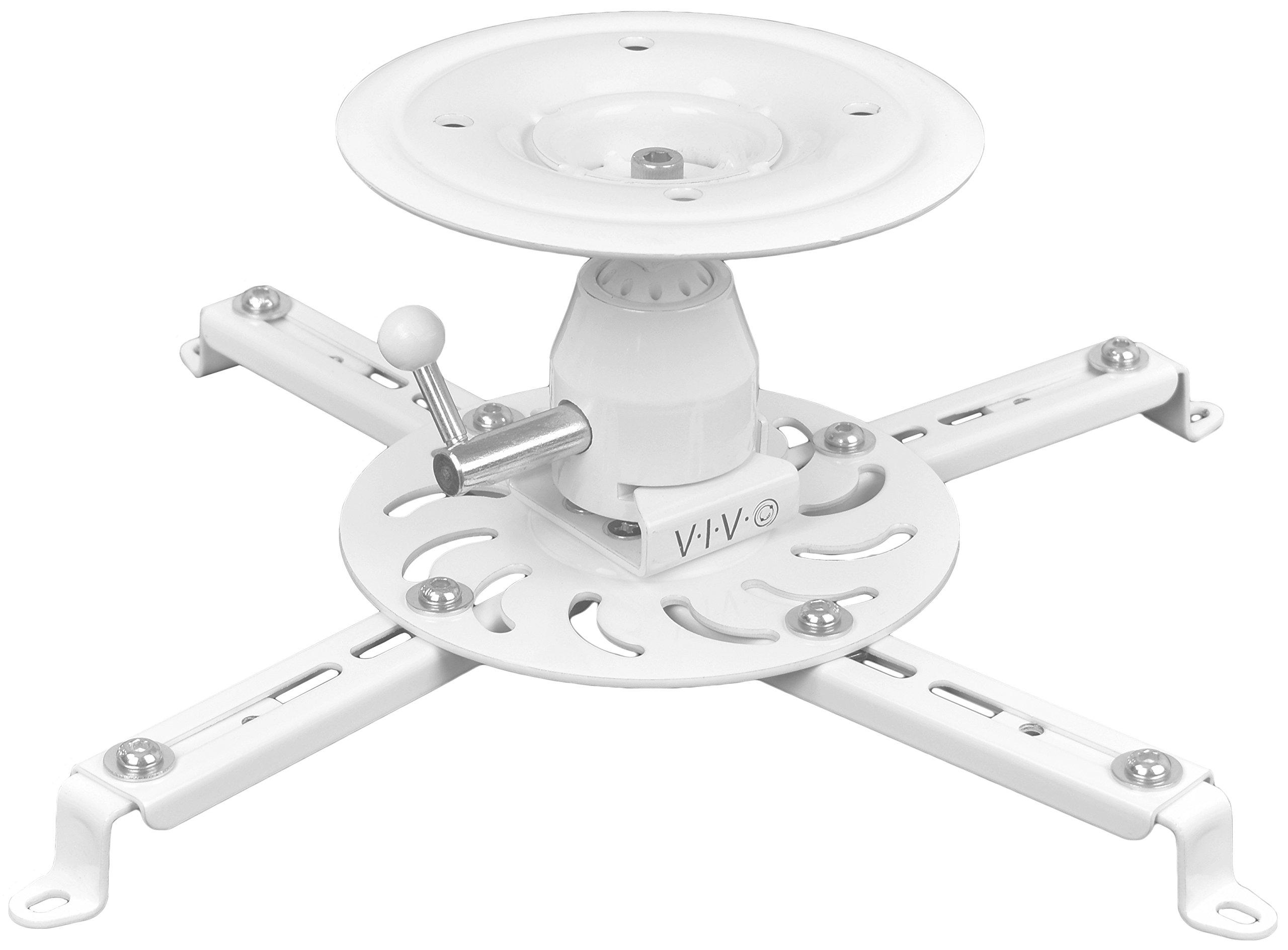 VIVO Universal Articulating Tilt Swivel Premium Ball Joint Heavy Duty Ceiling Projector Theater Mount Full Motion White (MOUNT-VP04W)