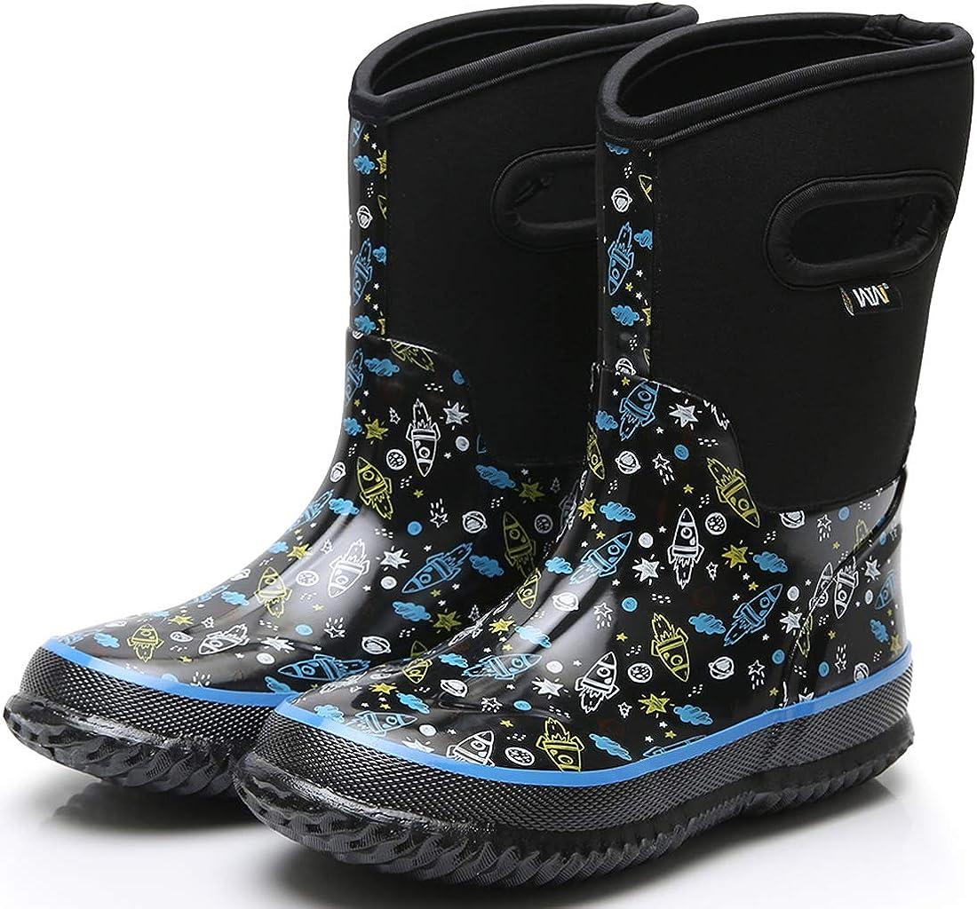 WTW Kids Snow Boots Neoprene Boys Winter Warm Rubber Rain Boot
