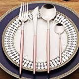 LEKOCH 4-Piece Stainless Steel Flatware Set Including Fork Spoons Knife Tableware (Pink+Sliver)