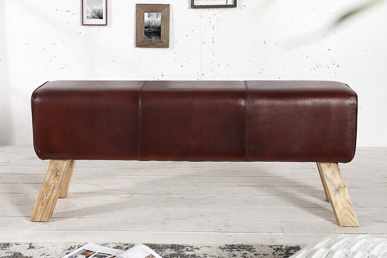 Bank Sitzbank Turnbock Leder Teakholz Massivholz Design Sitzmöbel 120cm BULL NEU