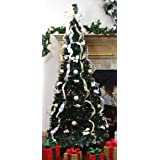 Northlight  31105056 Pre-Lit Pop Up Decorated Silver/Gold Artificial Christmas Tree with Clear Lights, 6'